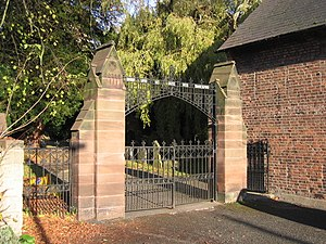 English: The gates to St Deiniol's church, Haw...
