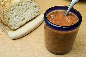 Simple tomato chutney. We also had some goat c...