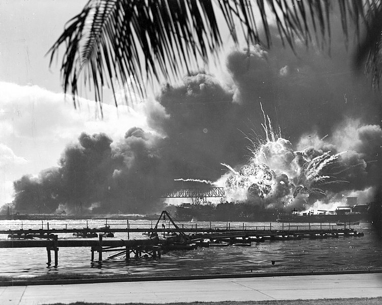 USS SHAW exploding at Pearl Harbor, December 7, 1941