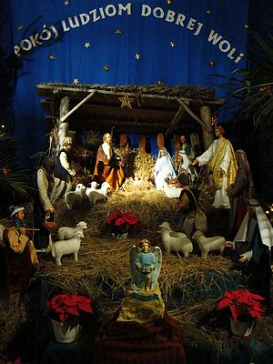 English: Christmas Nativity scene at the Franc...