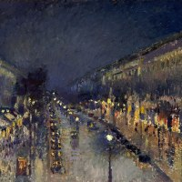 """Boulevard Montmartre at Night"" by Camille Pissarro"