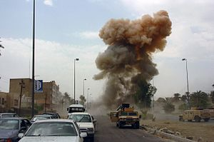Car bombing in Iraq, 2005. As Coalition Forces...