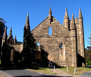 English: Convict-built church at Port Arthur, ...
