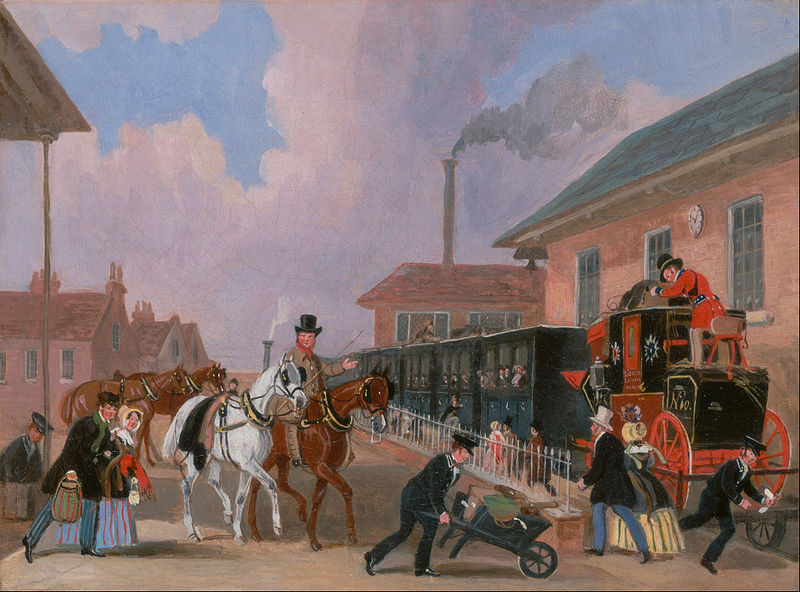 The Louth-London Royal Mail travelling by train from Peterborough East, 1845.