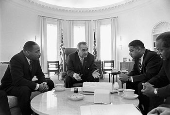 President Lyndon B. Johnson meets with Civil R...