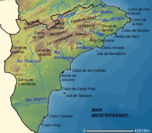 Mapa Provincia De Alicante.Alicante Davidseurope
