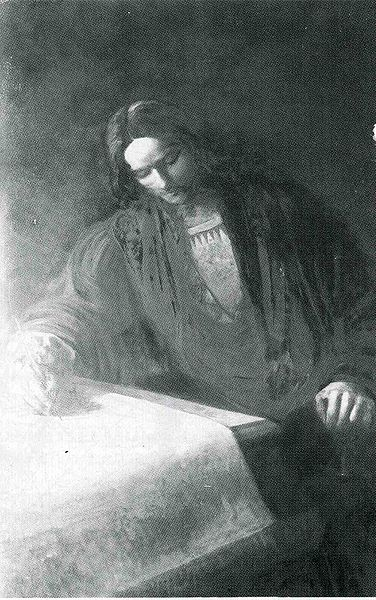 Martin Waldseemueller, German cartographer who named the New World after Amerigo Vespucci on his 1507 map -- from a painting by Gaston Save, circa 1900