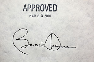 President Barack Obama's signature on...