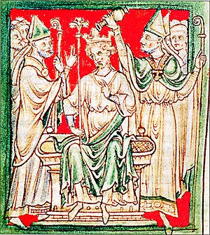 Richard the Lionheart, , being anointed during...