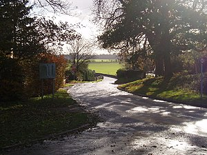 Road to Radwell Bridge. Looking down the road ...