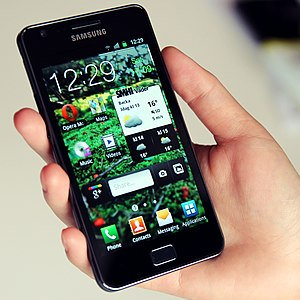 A Samsung Galaxy S II phone with customized ho...