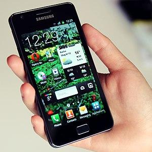 A Samsung Galaxy S II phone with customized ho...