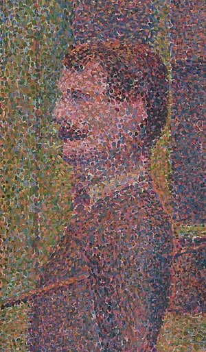 Detail from Seurat's La Parade de Cirque (1889...