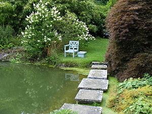 English: Stepping stones across the pond at Ch...