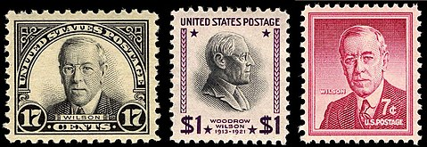 Woodrow Wilson Stamp Issues 17c Issued In 1925 1 1938 7c 1956