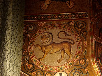 Lion. mosaic in the Palatine Chapel within the...