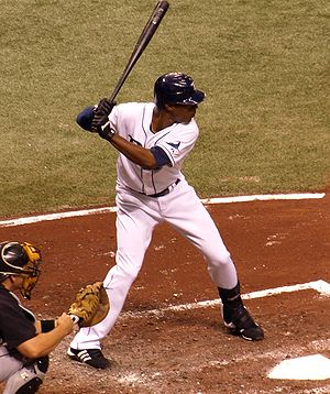 English: Tampa Bay Rays center fielder B. J. U...