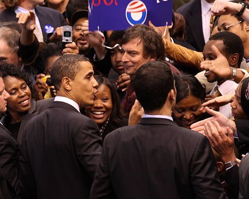 Barack Obama and supporters 4, February 4, 2008