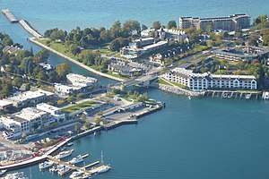 Charlevoix, between Lake Michigan and Lake Cha...