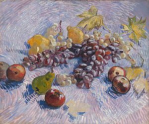 Grapes, Lemons, Pears, and Apples (1887) by Vi...