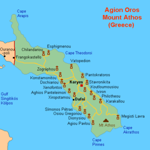 English: Map (rough) of Athos, Greece, own wor...