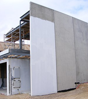 Precast concrete walled house in construction....