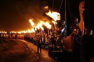 English: Procession at Uyeasound Up Helly Aa G...
