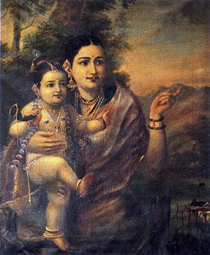 Sri Krishna, as a young child with foster mother .