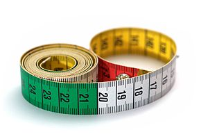 A tape measure. Deutsch: Massband