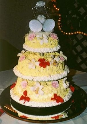 A photograph that I took of my wedding cake (f...
