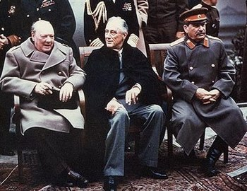 English: Yalta summit in 1945 with Winston Chu...