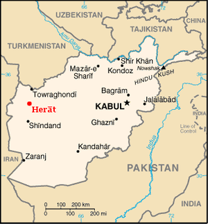 Map of Afghanistan, highlighted Herat.