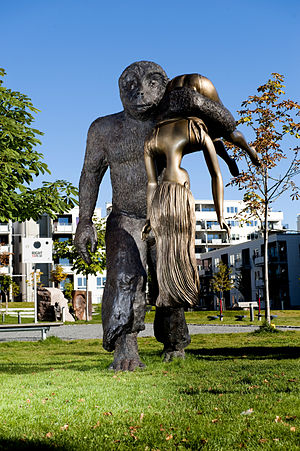 English: The Abduction - a sculpture in the Pe...