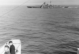 Bismarck, photographed from Prinz Eugen, in th...