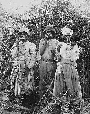 English: Cane cutters in Jamaica. 1880s. Franç...