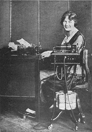 Transcribing dictation with a Dictaphone wax c...