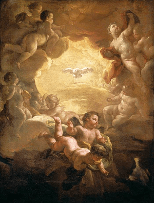 The Holy Spirit depicted as a dove, surrounded...