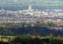 Gloucester Cathedral from Painswick Beacon