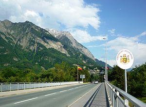 English: The border between Liechtenstien and ...