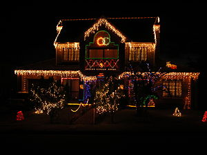 House decorated for Christmas.