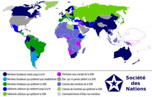 en français Carte du monde entre 1920 et 1945 ...