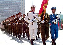 People's Liberation Army in dress uniform. Thi...