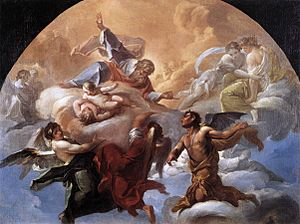 The painting depicts God addressing a devil, w...