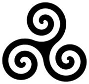 Una forma decorativa del trisquel o trinacria celta