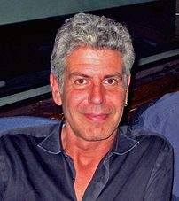 Anthony Bourdain being interviewed in the WNYC radio studio 2006-06-21.