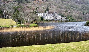 This is a picture of Kylemore Abbey in the Con...