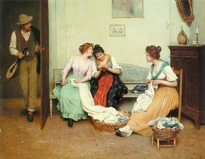 English: Eugene de Blaas: The friendly gossip