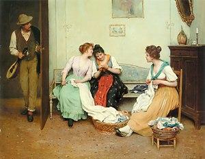 English: Eugene de Blaas: The friendly gossip
