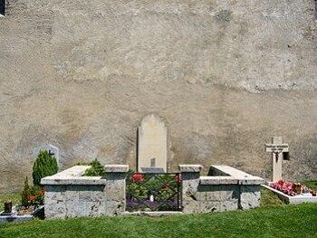 Grave of Rainer Maria Rilke at the churchyard ...