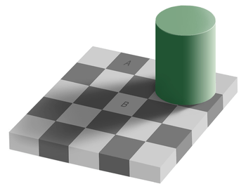 An optical illusion. Square A is exactly the s...